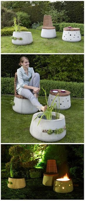Beautiful Concrete Garden Furniture - chair, table/brazier and water planter