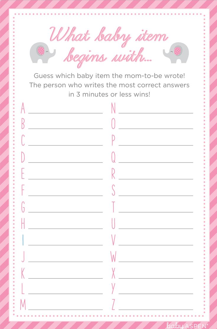 "This game might seem simple, but you'd be surprised how much fun ""What Baby Item Begins With"" can be! Your girlfriends will come up with some of the craziest and funniest answers – you just wait! 