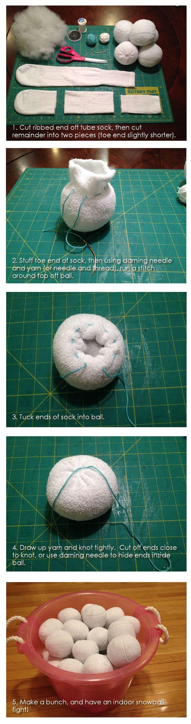 DIY Tubesock Snowballs - Indoor Snowball Fight