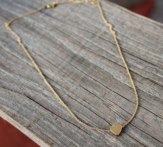 Dainty Heart Necklace Tiny Heart Necklace Silver by JewelryVV