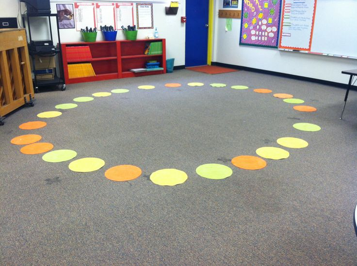 Can't afford a rug or carpet for the music classroom? Stick Velcro to the bottom of placemats for an instant circle. This also makes it easy to rearrange the classroom for small group activities.