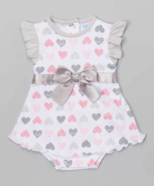 Look at this White & Pink Heart & Bow Flutter Sleeve Sundress - Infant on #zulily today!