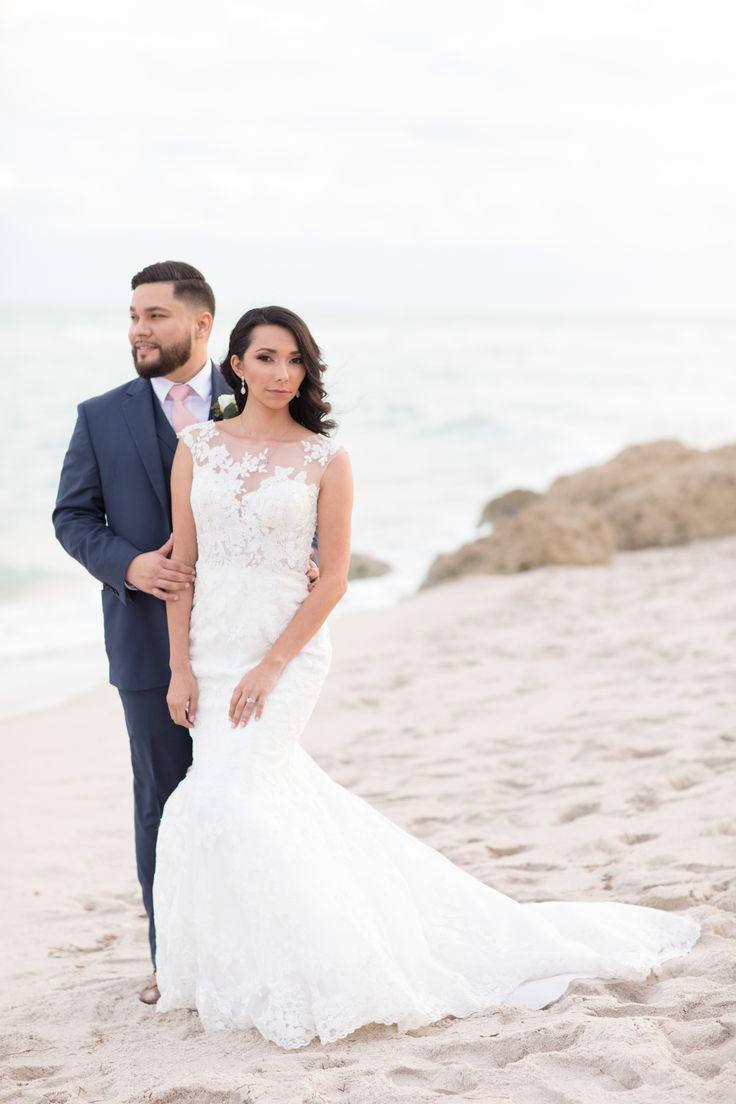 The Palms Hotel // Heather Funk Photography // Miami Beach // beach wedding // bridal gown // romantic wedding // wedding couple