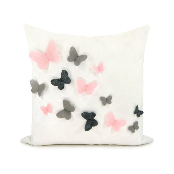 Decorative pillow cover, Baby nursery, Romantic bedroom, Children decor - Pink, grey and dark grey felt butterflies on white canvas in 16x16 on Etsy, £25.78