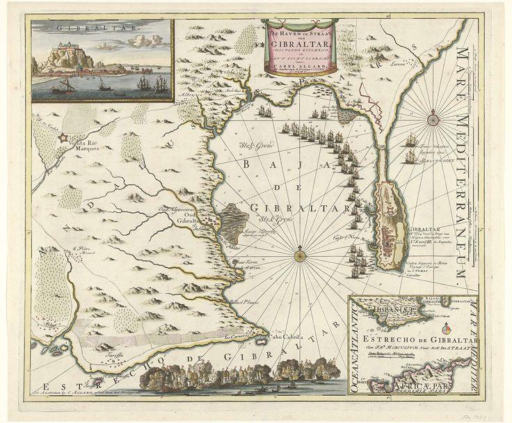 Carel Allard | Kaart van Gibraltar, 1704, Carel Allard, Staten van Holland en West-Friesland, 1704 | Kaart van Gibraltar met de schepen van de Geallieerden voor de haven van Gibraltar, veroverd 3 augustus 1704. Linksboven een inzet met een gezicht op de rots van Gibraltar, rechtsonder een inzet met een kaart van Zuid-Spanje en Noord-Afrika. Onderaan een zeeslag.