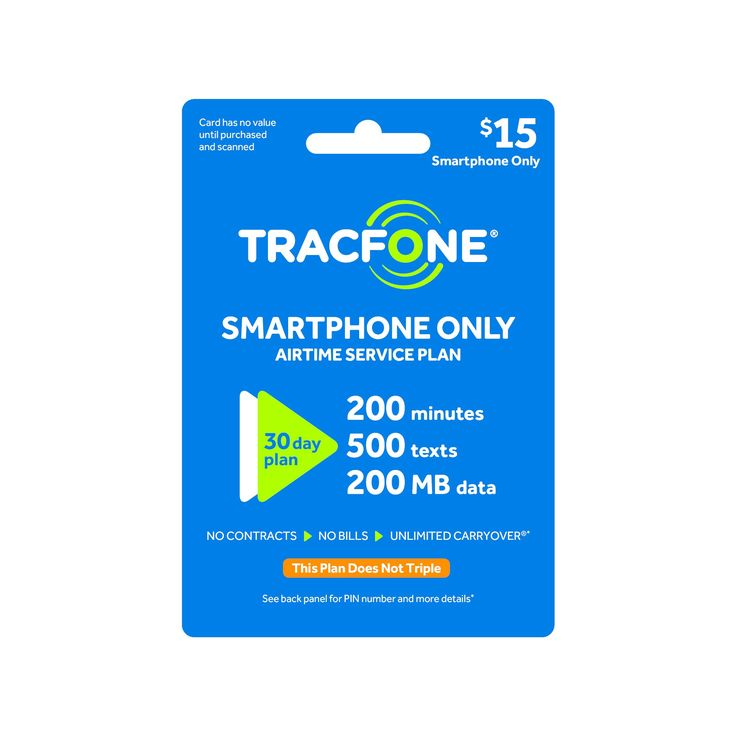 TracFone $15 Smartphone Only Prepaid Card (Email Delivery)