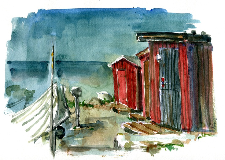 Watercolor Old Boat Houses, along the Baltic Sea, Bornholm Denmark  #HikingArtist
