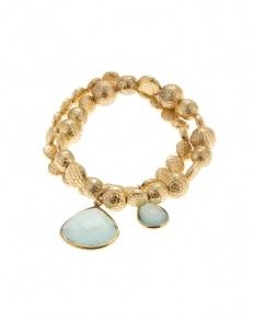 Aliana Twin Bracelets with Drop Stones Aqua Gold