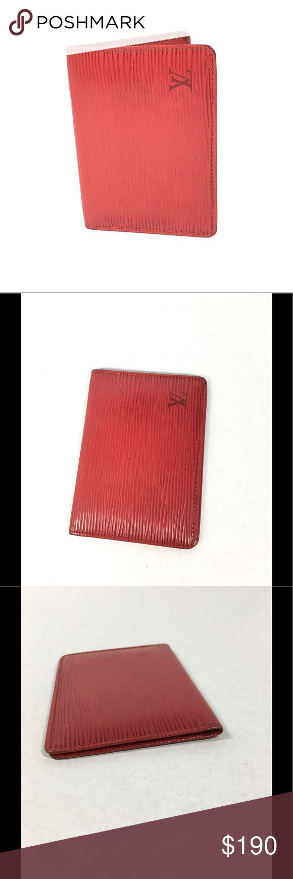 Authentic Louis Vuitton Epi Leather Card Holder No lowballing, no trade. Authentic Louis Vuitton Epi Leather Red Card Holder    Louis Vuitton Paris. Made in France    Date code: SP 1927    Gently used condition    Rub marks and scratches on the exterior. Light rubbing on the corners and edges.  Interior shows minor rub marks. Plastic parts show small scratches, dirt spots and light stains. Louis Vuitton Bags Wallets