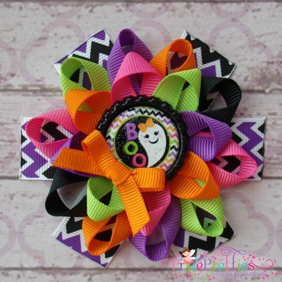 Boo Ghost Loopy Flower Bow-halloween, 1st halloween, pumpkin, hairbow, hair bow, hair clip, bottlecap, bottle cap, custom, black, green, orange, purple, glitter, zebra, pink, yellow, white, candy, ghost, chevron