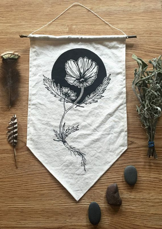 California Poppy Wall Hanging Banner by andreajac on Etsy