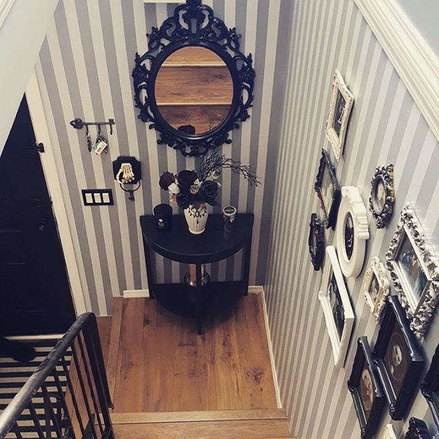 Home sweet horror. 💜 #gothic #gothichome #gothichomemaking #everydayishalloween #stripes #halloweendecor #hallway #diy