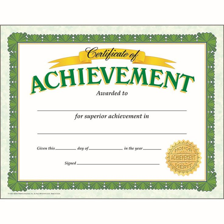 CERTIFICATE OF ACHIEVEMENT CLASSIC. Make students feel proud with these bright, eye-catching awards. Choose from a variety of themes to honor any accomplishment, including academic achievement, good attendance, and citizenship. Versatile certificates are easy to customize to each child.