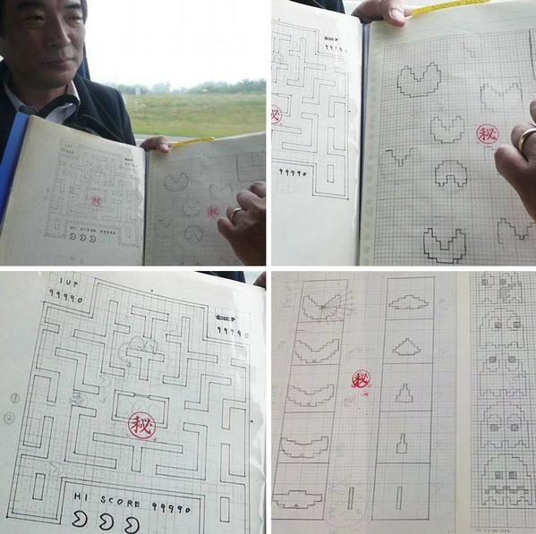 Toru Iwatani shows his original drafts for Pac-Man.