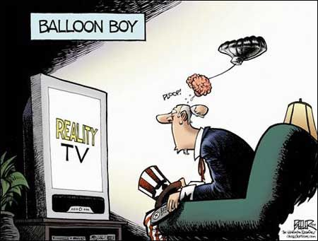"""This political cartoon was done by Nate Beeler.  1. What is the main point of the cartoon?  The main point of the cartoon is to show how  Americans are being effect reality TV shows.   List the most important symbols being used to make the point: Uncle Sam is the main character being used to symbolize all Americans. His brain is another important symbol because it is being carried away like a """"balloon"""" while he's watching TV. This is to show what these trash TV shows are doing to our heads."""