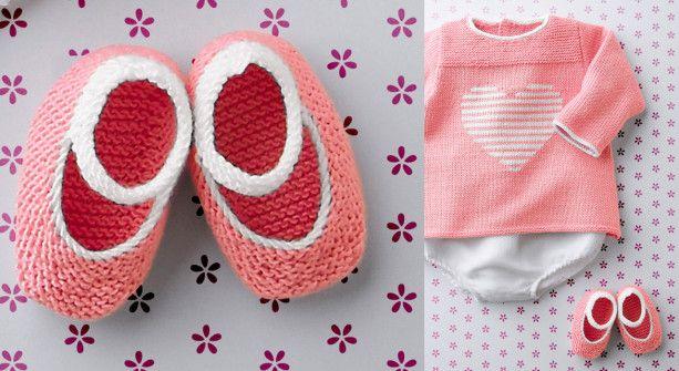 Les chaussons bicolore au point mousse