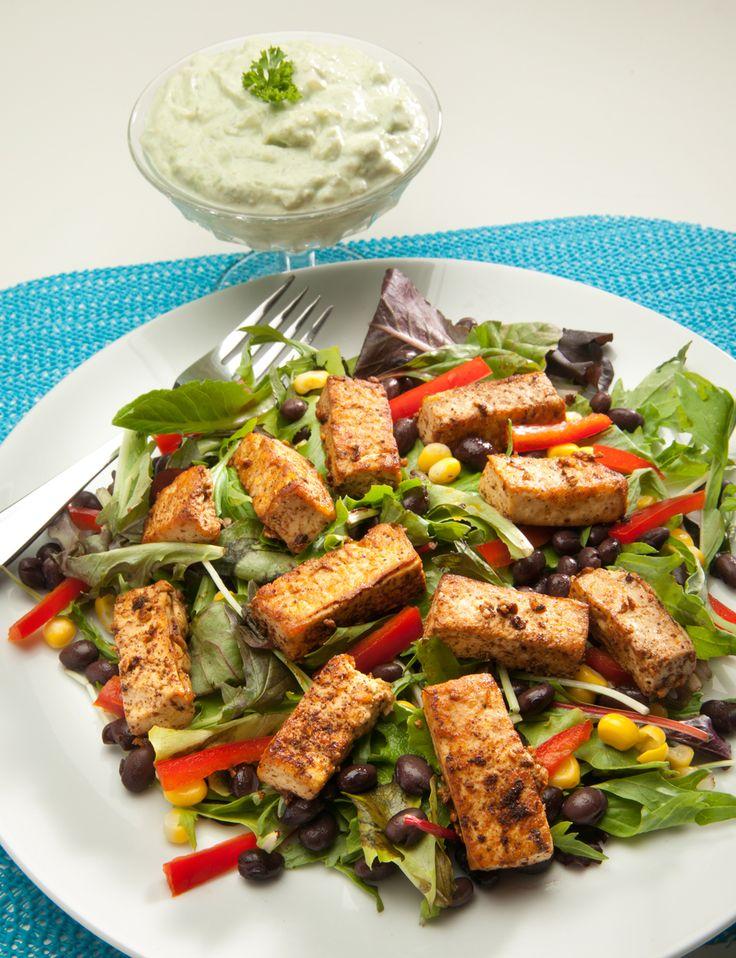 Spicy Tofu Salad with Avocado-Yogurt Dressing