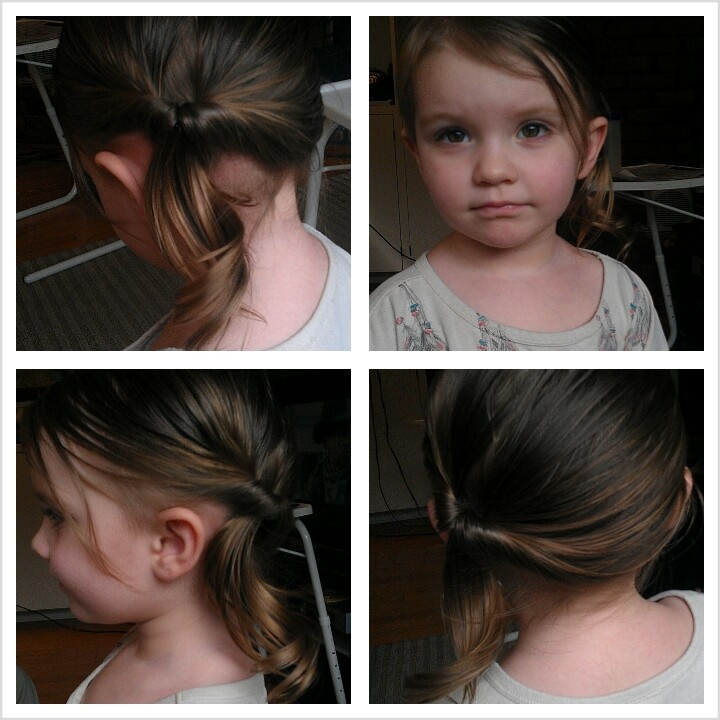 Toddler hair updo- usually do a side pony or the flipped under in the back...why didn't I think to flip under the side pony :P