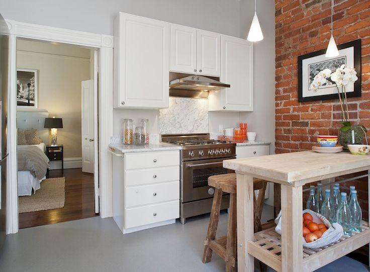 White Kitchen Exposed Brick tamara mack design - kitchens - loft kitchen, exposed brick walls