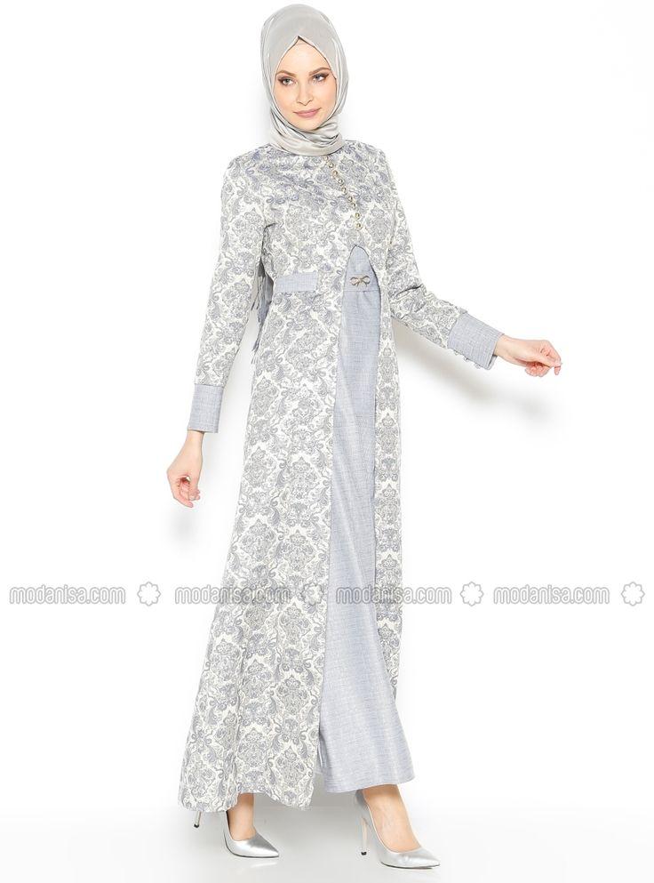 Jacquard Evening Dress - Gray - BURUN