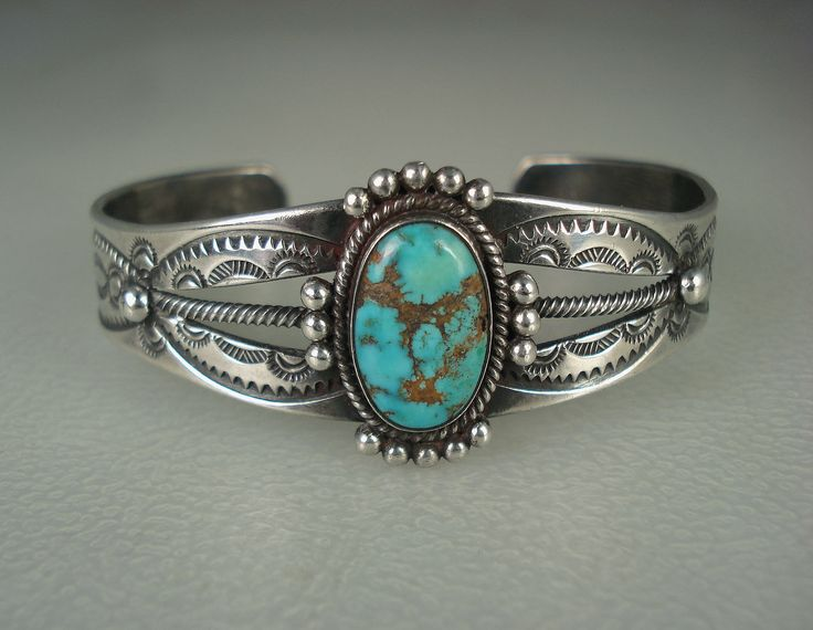 Early Navajo Hand Stamped Sterling Silver Spiderwebbed Turquoise Bracelet | eBay