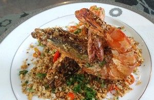 Resep Seafood: Deep Fried King Prawn with Oatmeal & Garlic