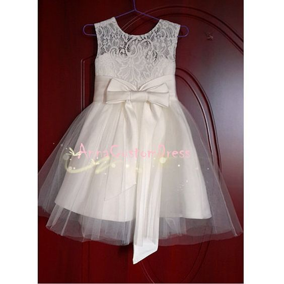 Ivory Lace Flower Girl Dress White Country Wedding Baby