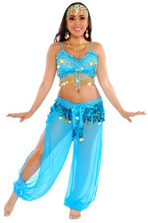 4-Piece Jasmine Genie Belly Dancer Costume - TURQUOISE