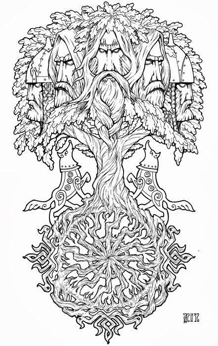 boom met gezichten en wolven