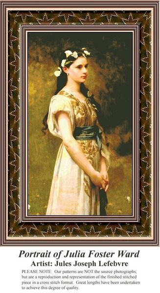 Portrait of Julia Foster Ward, Fine Art Counted Cross Stitch Pattern also available in Kit and Digital Download #pinterestcrossstitchpattern #pinterestgifts #fineartcrossstitchpatterns