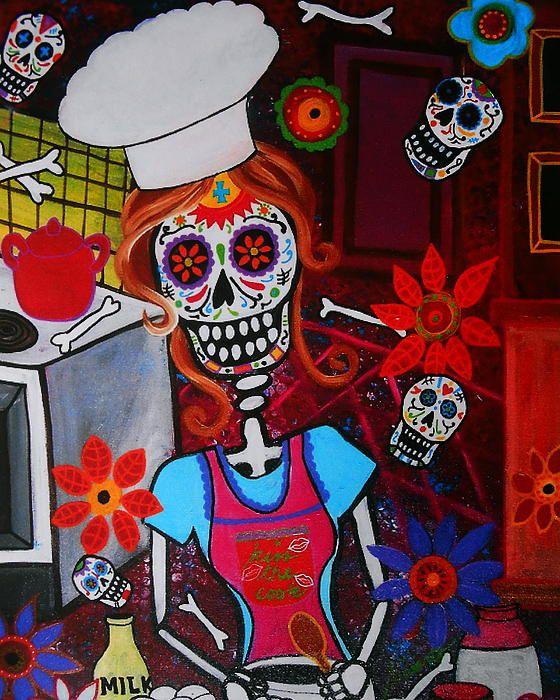 Kiss the Cook, Dia de los Muertos, Chef, Baker Folk art painting by Pristine Cartera-Turkus, Bird, nature, pop art, best-seller, Restaurant art, Office art, wall art, interior design, great birthday gift, mother's day, housewarming, just because, Filipino artist, Mexican art