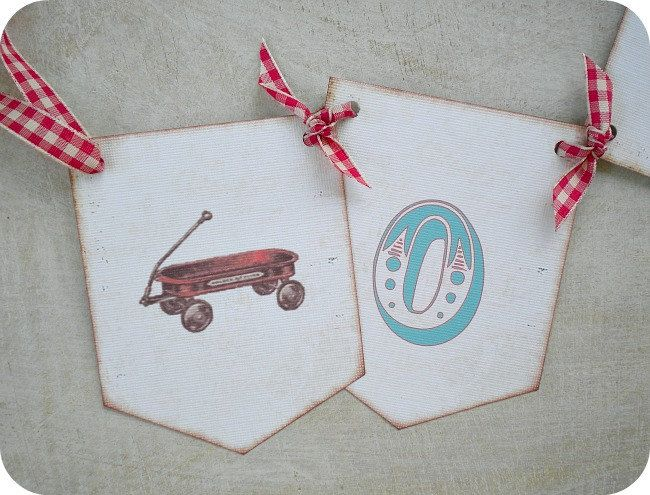 Little Red Wagon Banner-ONE Banner-Red by LittlePaperFarmhouse