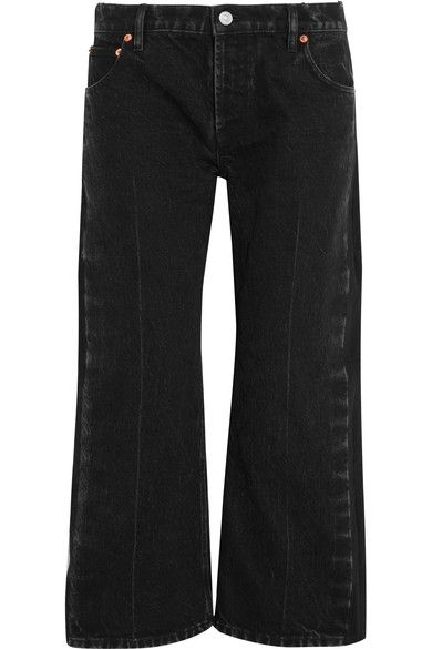 Balenciaga - Rockabilly Cropped High-rise Wide-leg Jeans - Charcoal - FR40