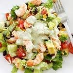 Shrimp Avacado Salad with Creamy Cilantro Tomatillo Dressing