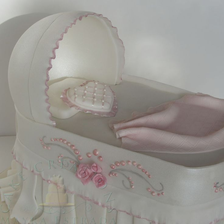 Very Pretty Cake Art!! ~ Bassinet Cake for a Baby  Shower ~ all edible
