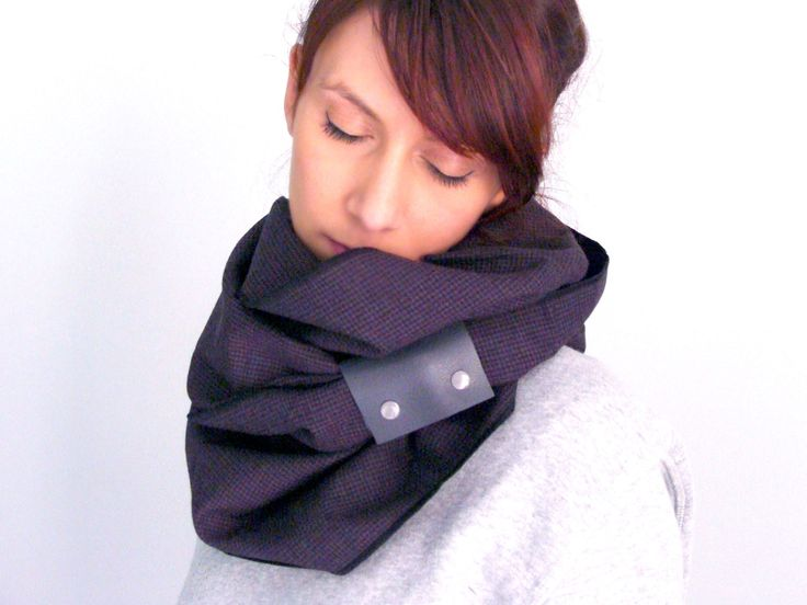 Wool infinity scarf with faux leather cuff in purple, butgundy tiny houndstooth - FOR SALE 32.00€ - Click here: clothbot.gr - clohbotshop.etsy.com - Fall Winter 2015 - scarves, accessories, trends, christmas gifts, holidays presents, unisex
