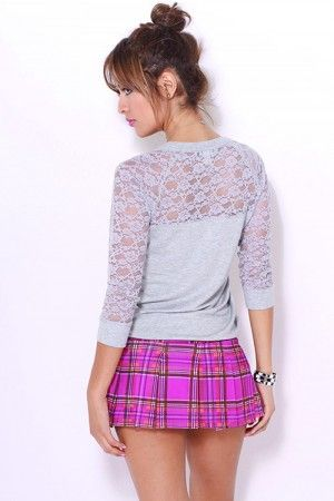 Trendy Cute Fuchsia/coral plaid pleated schoolgirl mini skirt fo cheap | Affordable Clothing | 1015 store