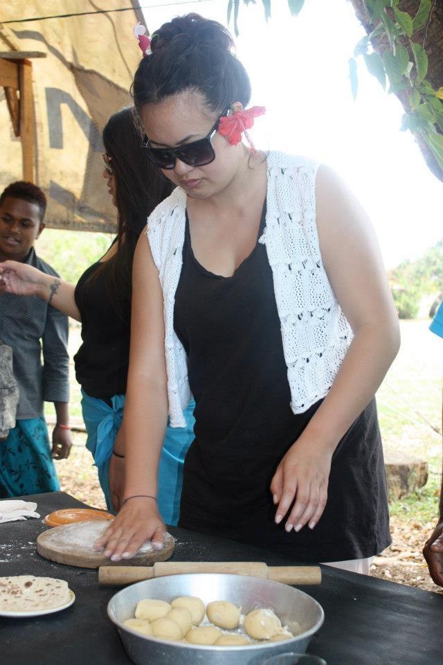 Dana learning to make Roti