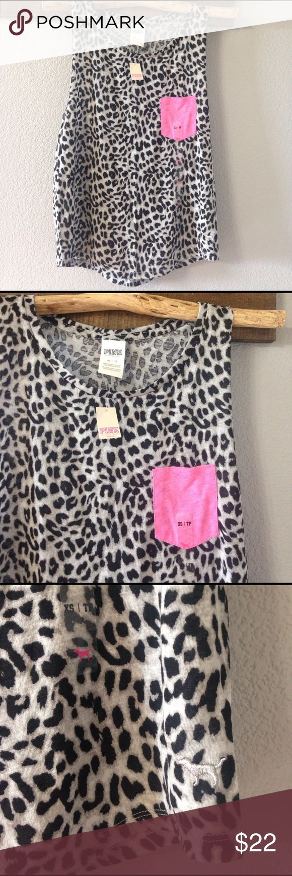 NWT PINK Victoria's Secret cheetah print tank top NWT PINK Victoria's Secret SASSY basic every day muscle shirt with animal cheetah print tank top with pocket & dog logo on hip. color: Gray & black with pink pocket. 60% cotton & 40% polyester. Size XSShips same day of purchase. PINK Victoria's Secret Tops Muscle Tees