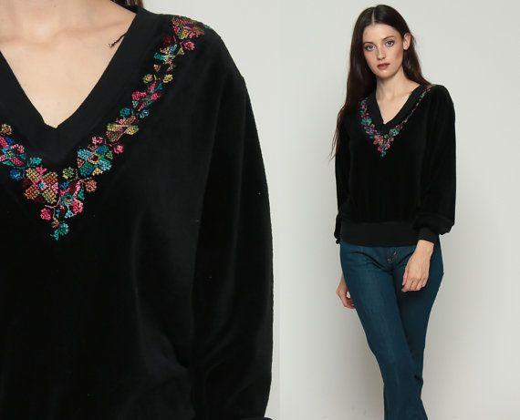 Velours Sweatshirt zwart GEBORDUURDE BLOEMEN Shirt 80s V hals trui lange mouw 70s Grunge Retro Boho Pullover trui groot
