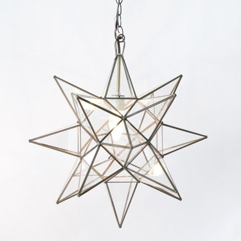 "Star Clear Glass Chandelier - X-Product Information  20"" dia  Extra-large glass Moravian star pendant with single 60w socket. Comes with 3' antique brass chain and canopy."