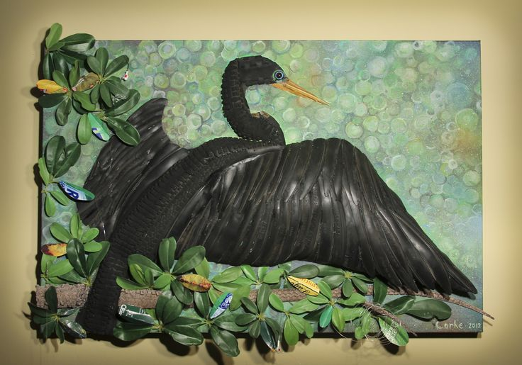 """""""Tired of Drying""""    24"""" x 36"""" recycled bike tires, recycled fake leaves, recycled newspaper, recycled fishing line, spray paint, acrylic ,glue, and foam on canvas        #recycling #recycle #art #AndrewCorkeArt #NewAgeArt #Nature #Lizard #Anole #tire #tires #biketires #Wildlife #Anhinga #bird #Mixedmedia #3D #Recycledmaterial #Fineart #Awesome #Epic     All images © AndrewCorkeArt  www.AndrewCorke.Com"""