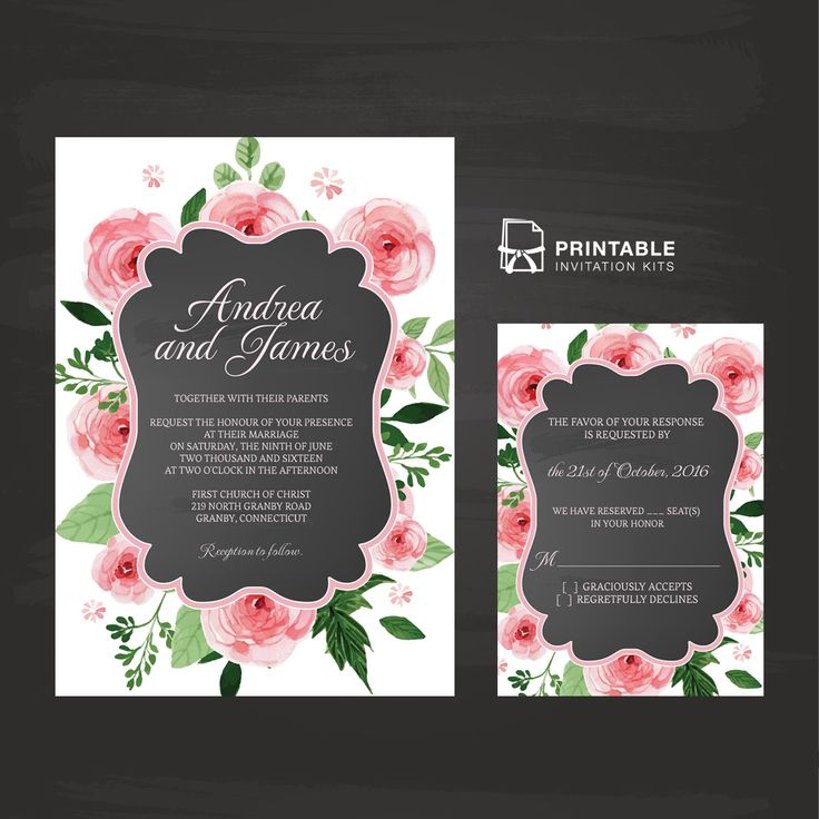 tulip wedding invitation templates%0A Chalkboard and Rose Frame Invitation and RSVP     Wedding Invitation Templates