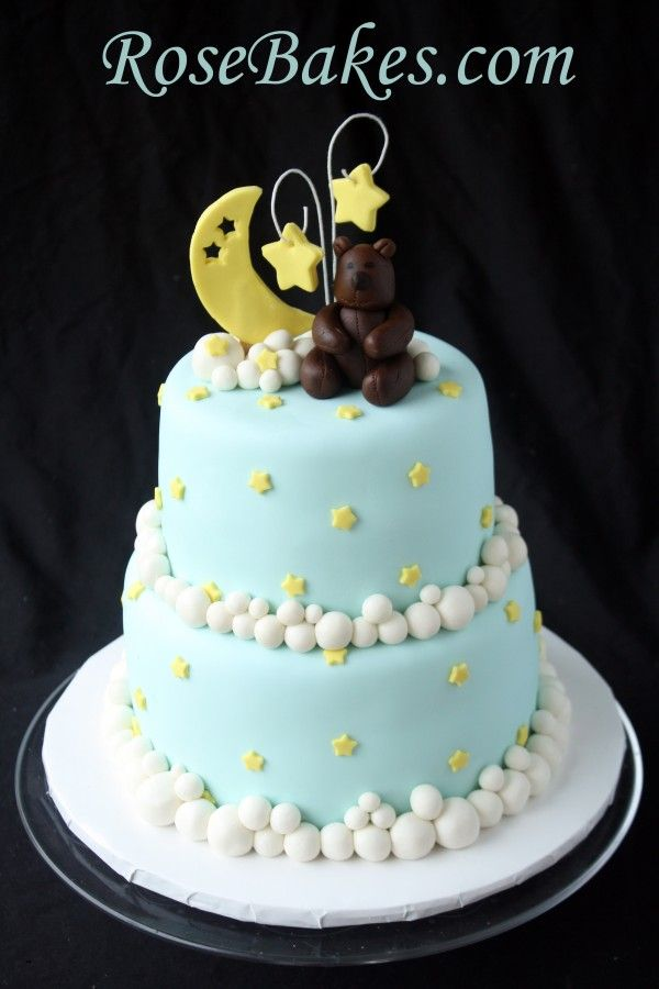 Boy Baby Shower Cake with a Moon and Stars and a Bear!