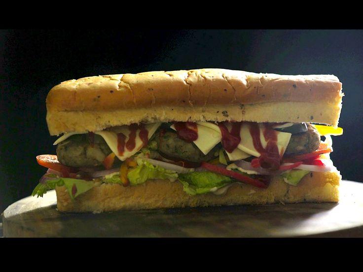 Kebab Foot Long Sandwich  #vegetarian #subsandwich #rawbanana #appandroid #video