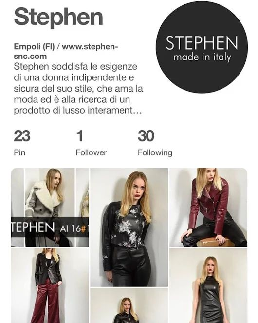 Ormai #STEPHEN è su ogni social, quindi per non perdervi niente, seguitici anche su #Pinterest.  Actually #STEPHEN is online on every #socialnetwork , so to not lose anything new #follow us on #Pinterest.