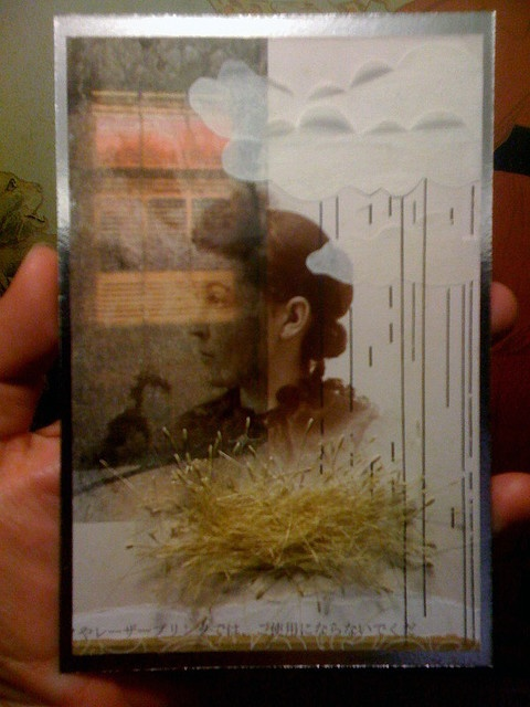 vintage photo, tape transfer, paper, tissue, letraset and grass seeds on silver foiled cardboard