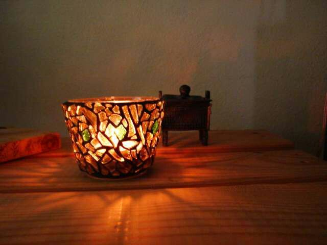 Mosaic tea light candle holder - 2005 by Kevin McMahon @MosaicAvatar