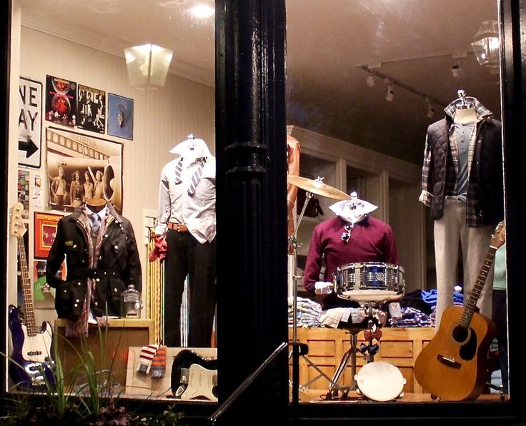 R. Derwin Clothiers Mens Store music window display by Brittany Kelly and Maddie Chapman. #derwinstyle #cashmere #hawick #johnstons #gimos #barbour #filson #samelsohn #musicdisplay