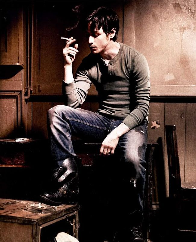 James McAvoy....one hot scot ;) but minus the cigarette, that's yucky. Bad, James, bad!